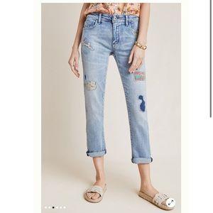 Pilcro Mid-Rise Slim Boyfriend Jeans with Patches